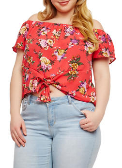 Plus Size Floral Tie Front Off the Shoulder Top - 1925069399767