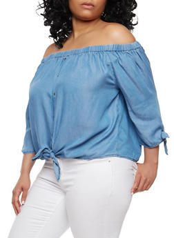 Plus Size Chambray Off the Shoulder Top - 1925069399877
