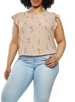 Plus Size Floral Tie Back Top - 1925069399921