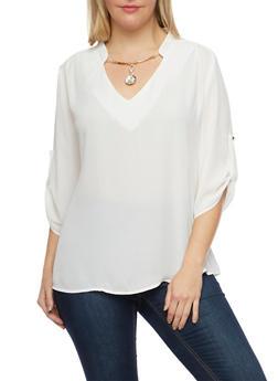 Plus Size Top with Jeweled Split Neckline - IVORY - 1925072980043
