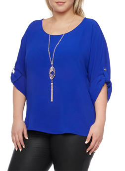 Plus Size Top with Button Cuff Sleeves and Necklace - 1925072981053
