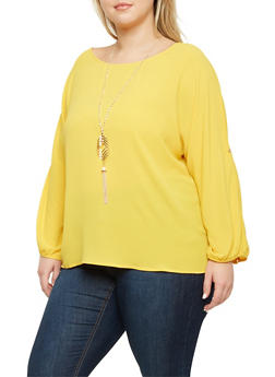 Plus Size Button Cuff Sleeves Top with Necklace - 1925072981053