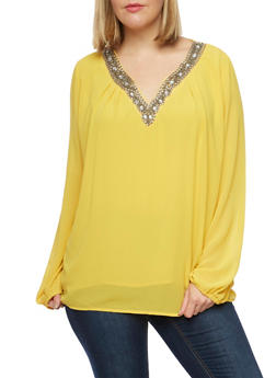 Plus Size Beaded V Neck Blouse - MUSTARD - 1925072981548