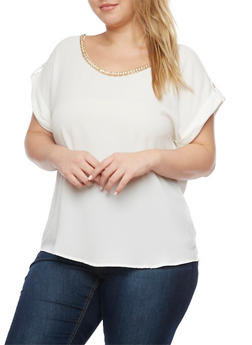 Plus Size Crepe Top with Embellished Scoop Neck - IVORY - 1925072981681