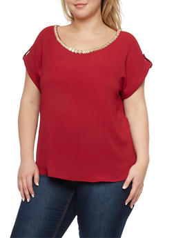 Plus Size Crepe Top with Embellished Scoop Neck - BURGUNDY #16 - 1925072981681