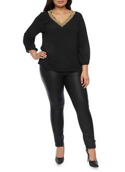 Plus Size Top with Embellished V Neck - BLACK - 1925072981794