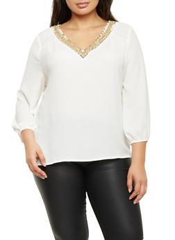 Plus Size Embellished V Neck Top - WHITE - 1925072981794