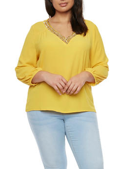 Plus Size Embellished V Neck Top - MUSTARD - 1925072981794