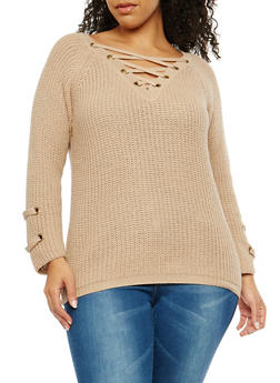 Plus Size Lace Up Detail Sweater - 1926069391506