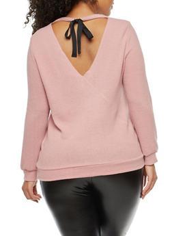 Plus Size Soft Knit Tie Back Top - 1926069399191