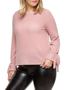 Plus Size Tie Sleeve Sweater - 1926069399443