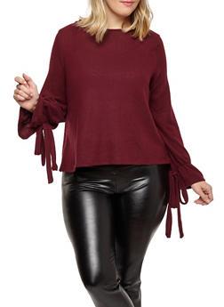 Plus Size Tie Sleeve Sweater - 1926069399443
