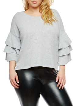 Plus Size Soft Knit Tiered Sleeve Sweater - 1926069399539