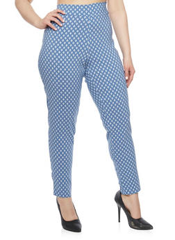 Plus Size Printed Knit Pants - BLUE - 1928020623221