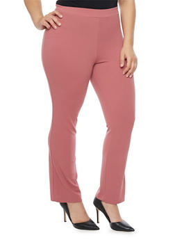 Plus Size Crepe Knit Boot Cut Pants - 1928020623347
