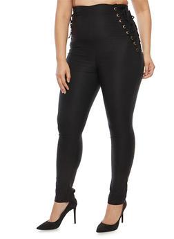 Plus Size Lace Up Pants - 1928068193022