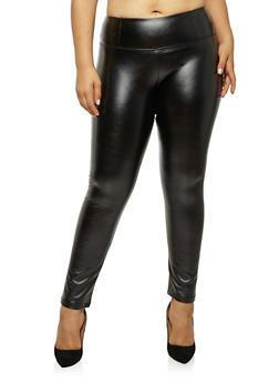 Plus Size Faux Leather Leggings - 1928068193049