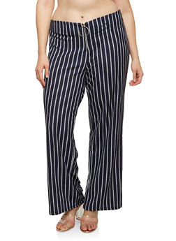 Plus Size Striped Zip Palazzo Pants - 1928068518385