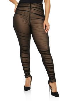 Plus Size Ruched Mesh Leggings - 1928069396890