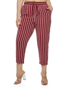 Plus Size Striped Pants - 1928069399607