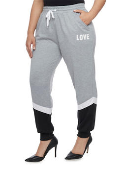Plus Size Colorblock Joggers with Love Graphic - 1928072290050