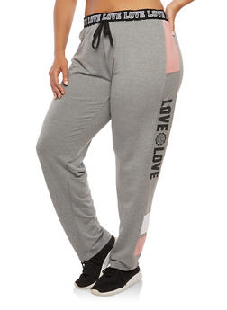 Plus Size Love Graphic Sweatpants - 1928072290075