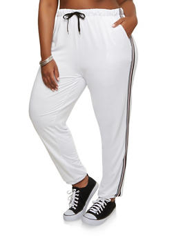 Plus Size Side Stripe Sweatpants - 1928072290110