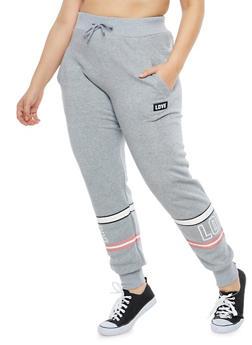 Plus Size Love Border Print Sweatpants - 1928072290215