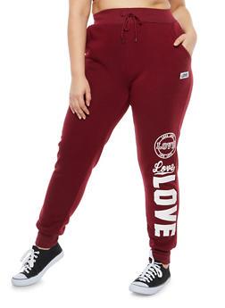Plus Size Love Graphic Sweatpants - 1928072290217