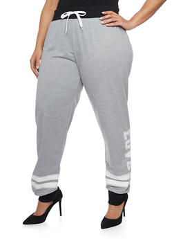 Plus Size Joggers with Varsity Stipes and Love Graphic - 1928072290490