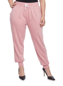 Plus Size Solid Joggers with Drawstring - 1928072290570
