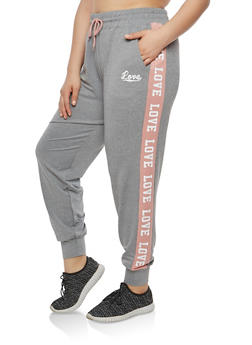 Plus Size Color Block Love Graphic Sweatpants - 1928072291921
