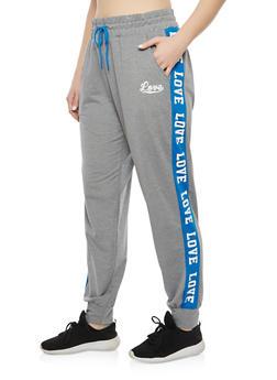 Plus Size Color Block Love Graphic Sweatpants - 1928072291921