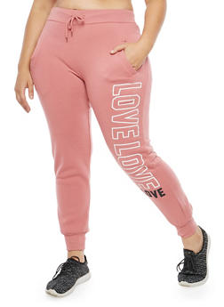 Plus Size Love Graphic Sweatpants - 1928072292222