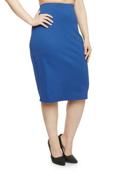 Plus Size Knit Midi Pencil Skirt - 1929020623360