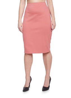 Plus Size Knit Midi Pencil Skirt - 1929020623360