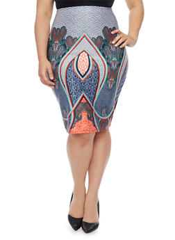 Plus Size Paisley Print Pencil Skirt - 1929020623954