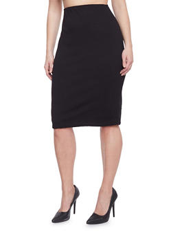 Plus Size Textured Midi Pencil Skirt - 1929020624370