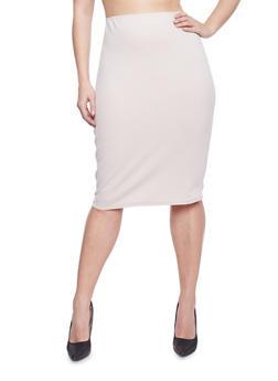 Plus Size Textured Midi Pencil Skirt - 1929020624370
