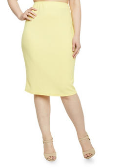Plus Size Textured Midi Pencil Skirt - MUSTARD - 1929020624370