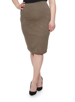 Plus Size Striped Stretch Pencil Skirt - 1929020624407