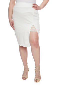 Plus Size Ponte Skirt with Lace Lined Front Slit - IVORY - 1929020624412