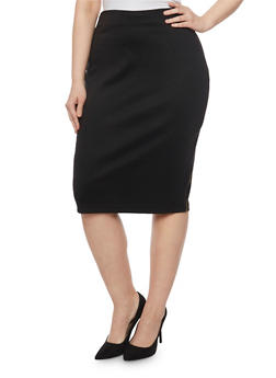 Plus Size Ponte Knit Pencil Skirt with Zip Trim - 1929020624413