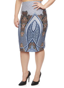 Plus Size Pencil Skirt in Mixed Print - 1929020624439