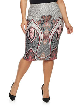 Plus Size Pencil Skirt in Mixed Print - WINE - 1929020624439
