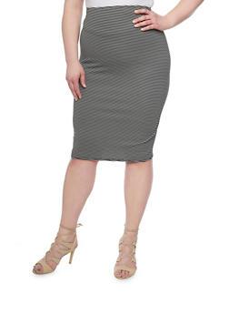 Plus Size Striped Pencil Skirt - BLACK - 1929020624440