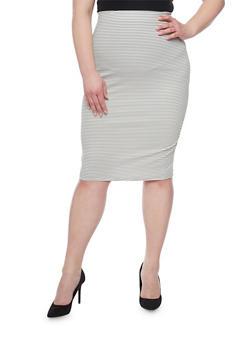 Plus Size Striped Pencil Skirt - WHITE - 1929020624440