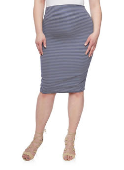Plus Size Striped Pencil Skirt - NAVY - 1929020624440