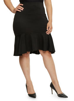 Plus Size Solid Pencil Skirt with Ruffle Hem - 1929020624494