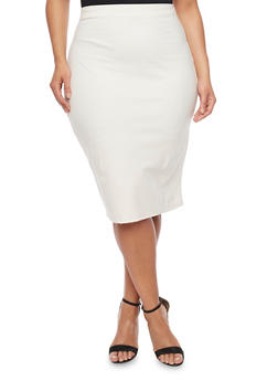Plus Size Solid Midi Pencil Skirt - 1929020624609